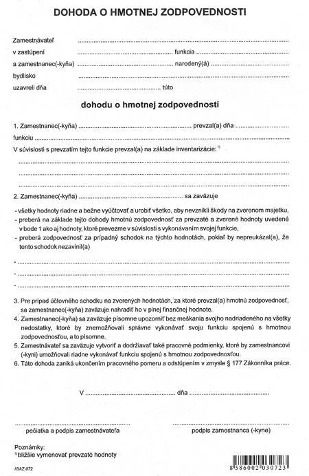 Dohoda o hmotnej zodpovednosti