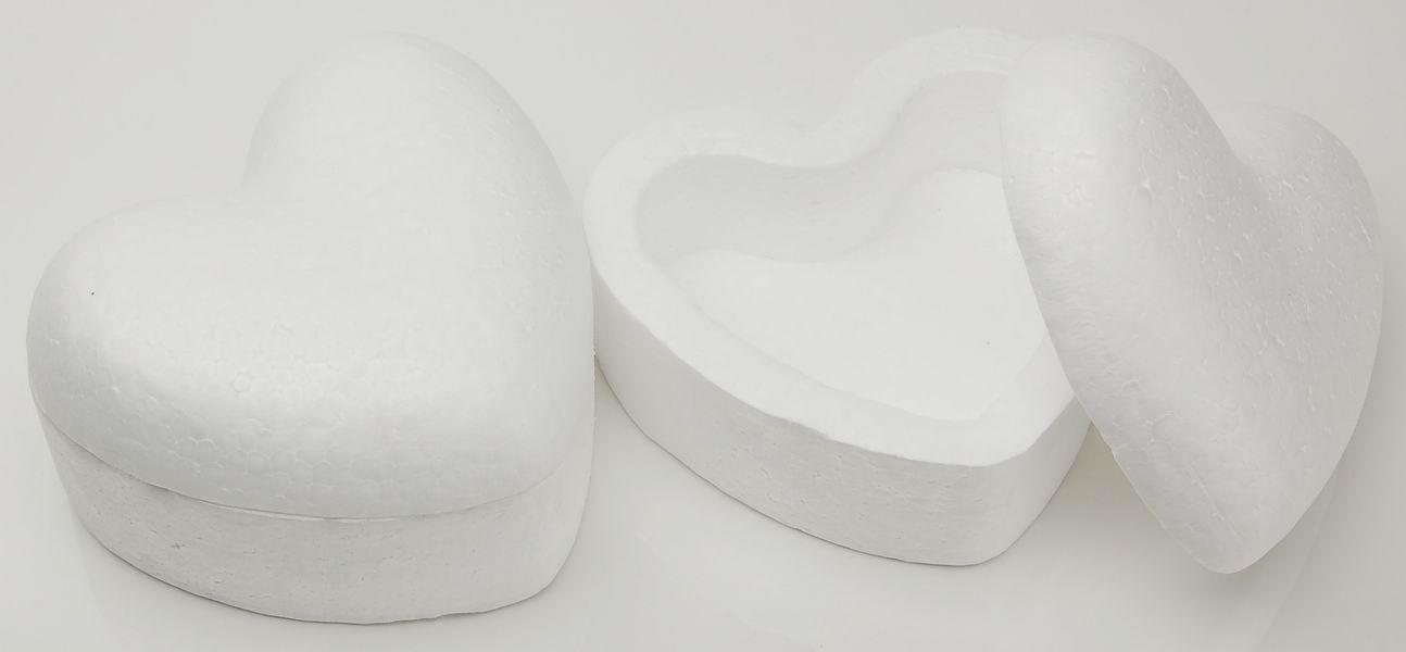 Dekoračné srdce 150mm /1ks polystyrénové - krabička