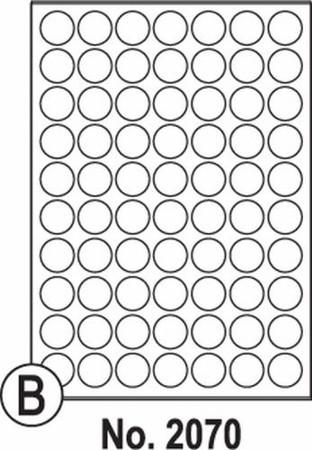 Etikety SOTO 2070, biele, okrúhle 25mm